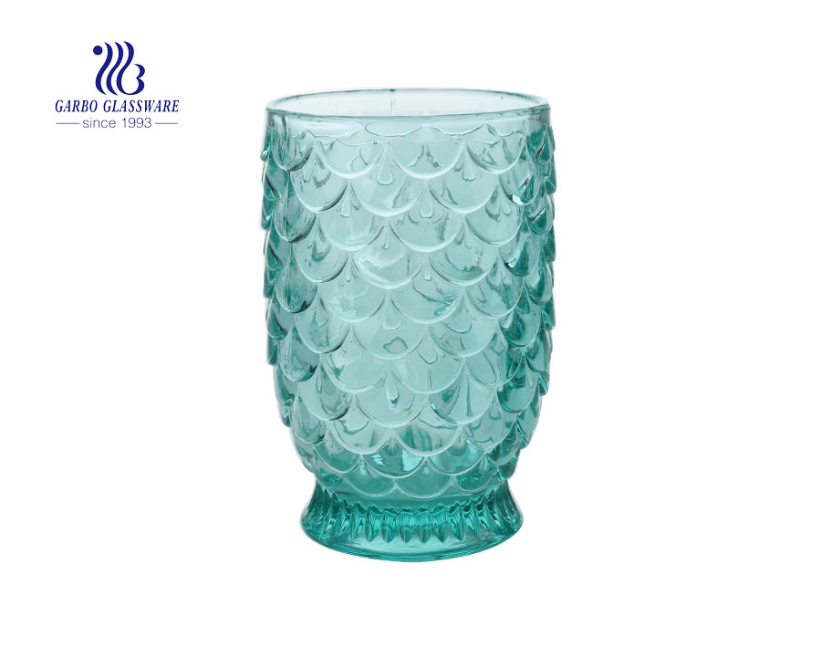 New Arrival Green Fish Scale Glass Candle Holder