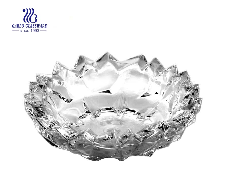 cenicero de diseño de vidrio transparente de forma redonda de vidrio transparente