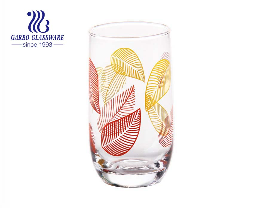 300ml classic printing water drinking glass tumbler