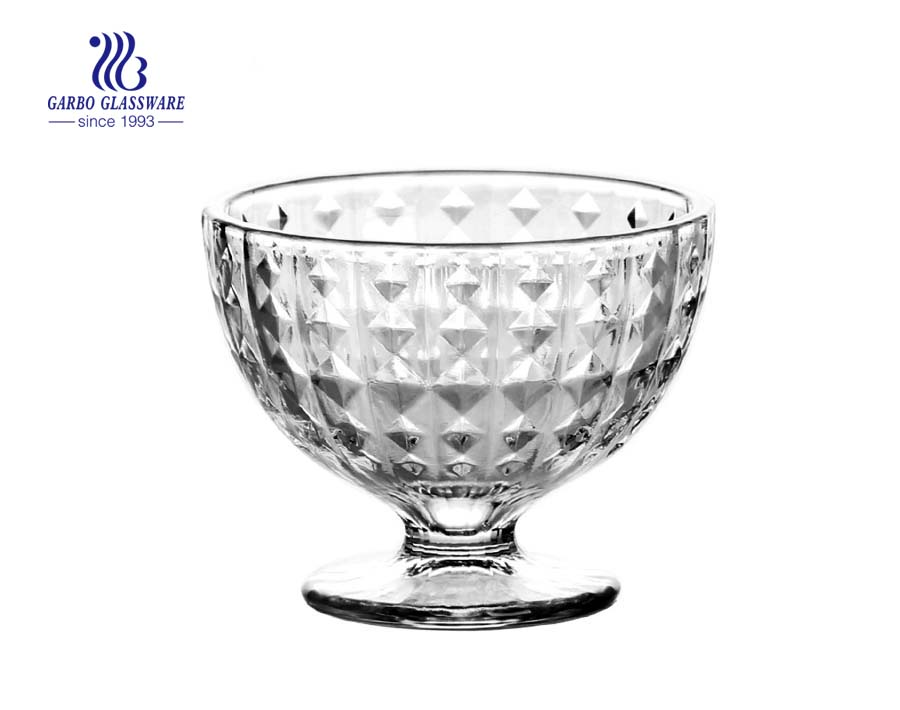 3.6inch Fábrica gravada fantasia design copo de sorvete de vidro