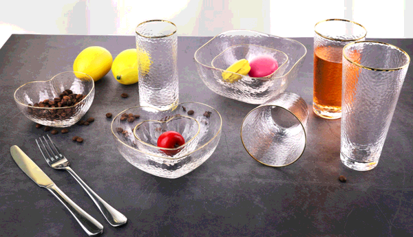Hammered Glassware with gold rim