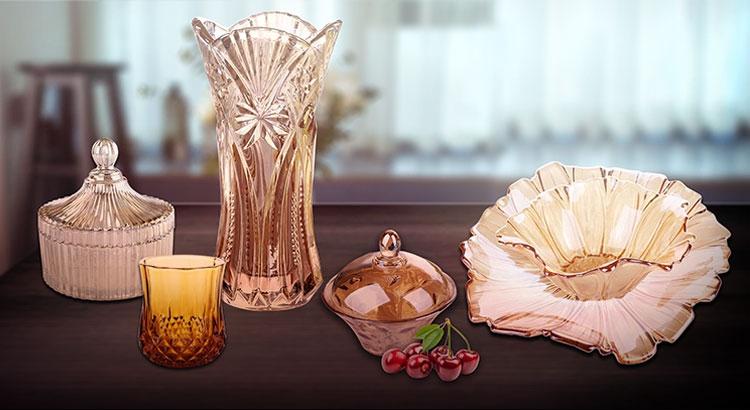 9.57 '' Ionen galvanisierte Glasschale für Obst mit antikem Goldmetall-Sockel