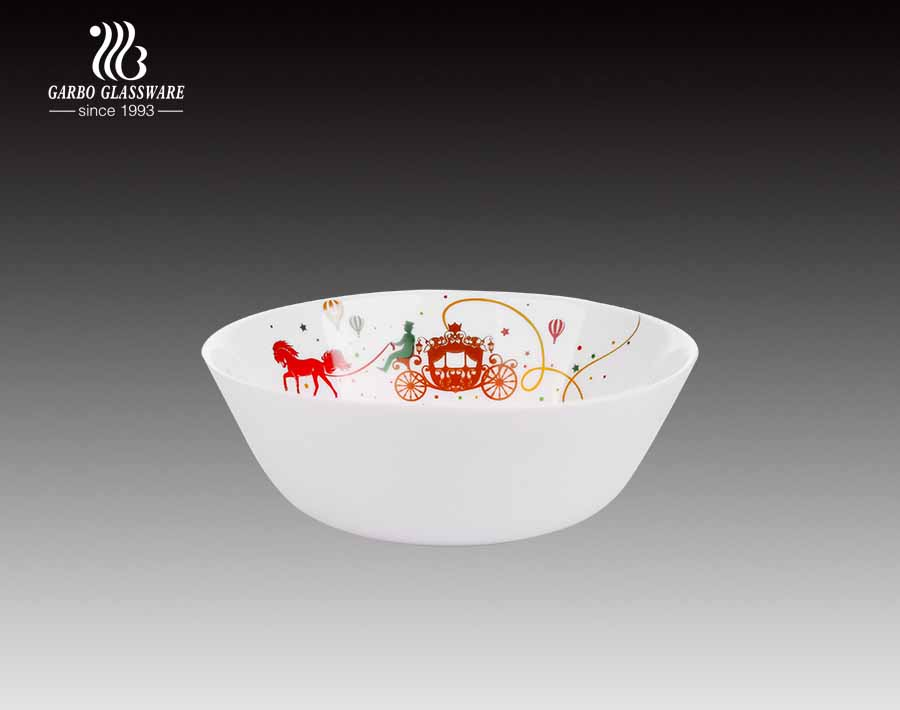 Disposable 6 Inch Cereal Bowl Milky Glass Bowl With Decal