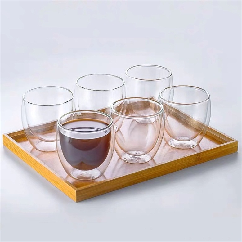 كأس شاي زجاجي مزدوج الجدار