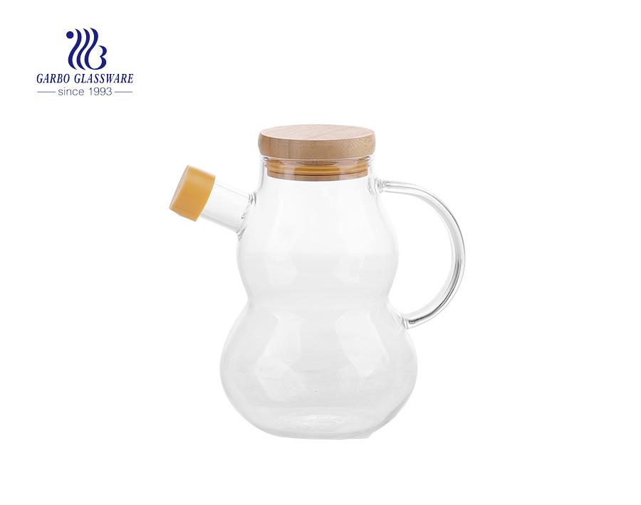 Wholesale custom hand made 10oz pyrex glass cruet with cork lid