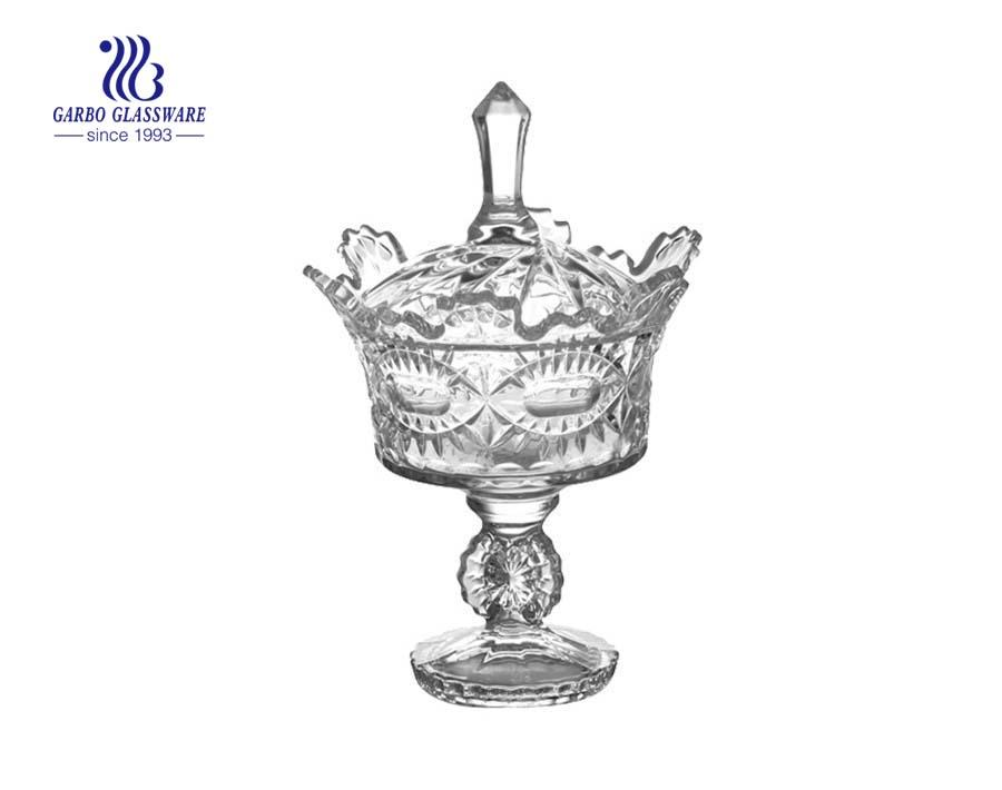 5 Zoll Hochzeitsbevorzugung kristallklares Bonbonglas mit Glasdeckel und Ständer