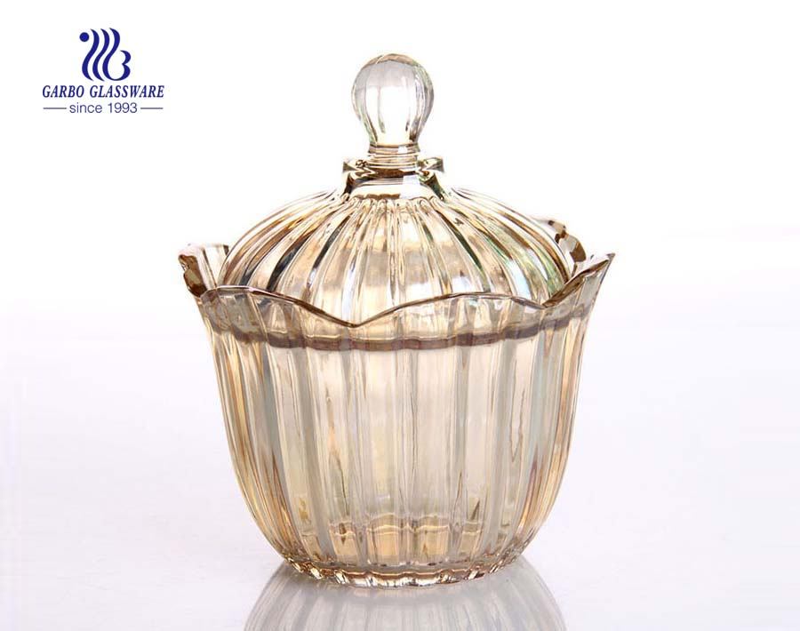 6 Inch Factory Price Ion Plating Glass Candy Jar sugar Glass Jar