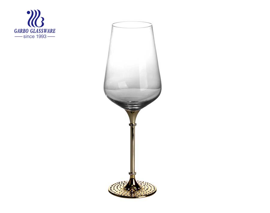 crystal glass golden stem with diamonds high end glass goblet