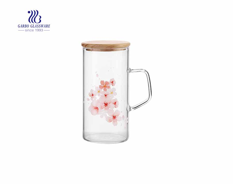 Wholesale 11oz bamboo lid flower decoratived borosilicate glass cup with handle