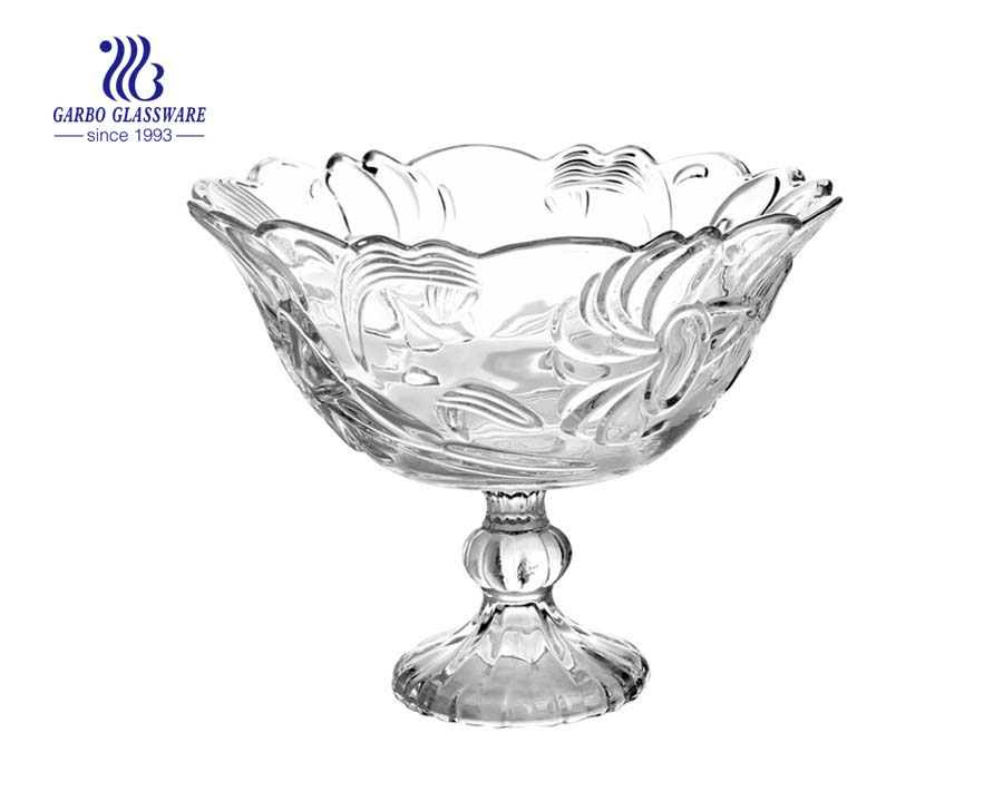 10.71'' Clear Glass Bowl with stand for Fruit Serving with Antique Gold Metal Pedestal9.57'' Ion Electroplated Glass Bowl for Fruit Serving