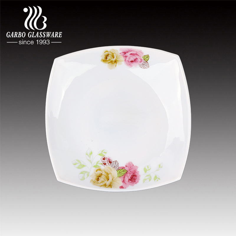 8.5 inch square shape high quality kitchen use decal spining opal glass plate