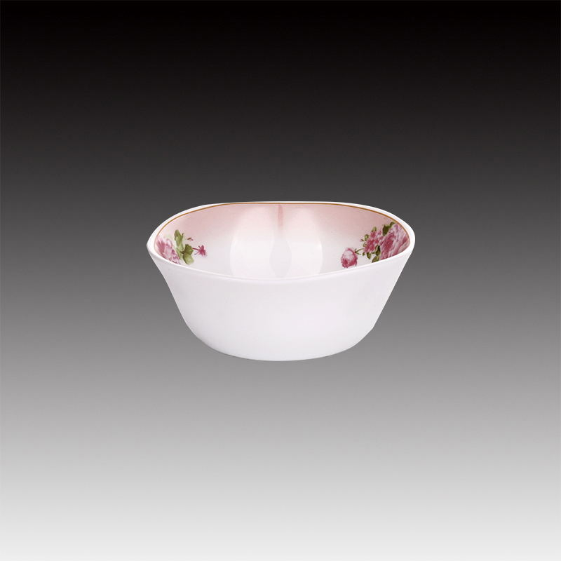 4.5 inch round shape full decal popular spining white opal glass bowl