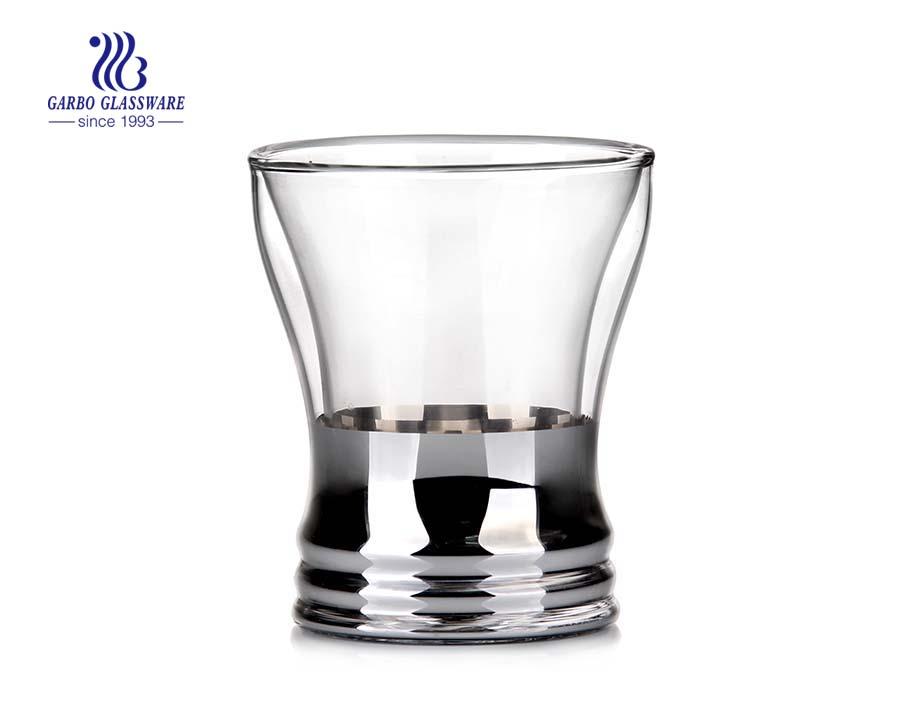 Chegada nova galvanizado decoratived copo de vidro de parede dupla 8oz