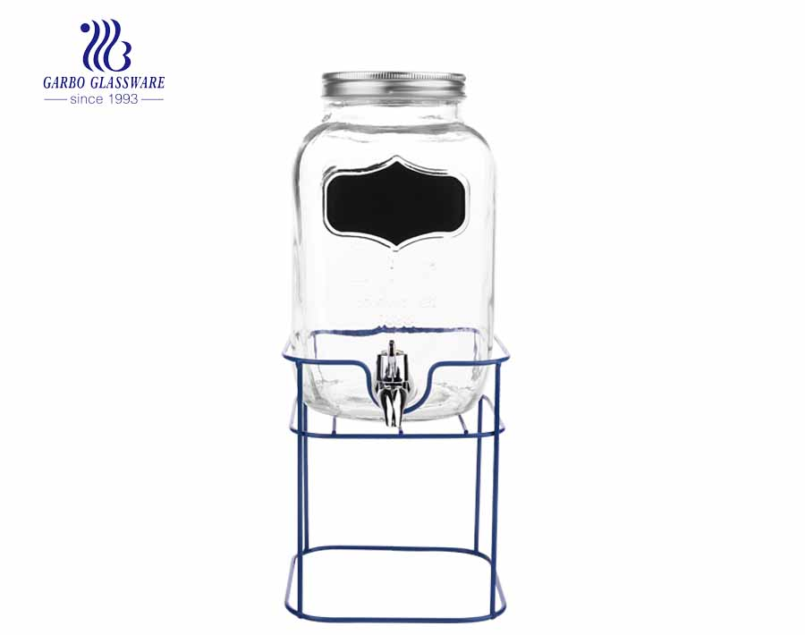 4L south america hot sale hotel using juice drinking glass dispenser with stainless steel base