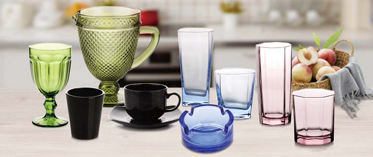 European style food safe contact tinted color octangle glass cup