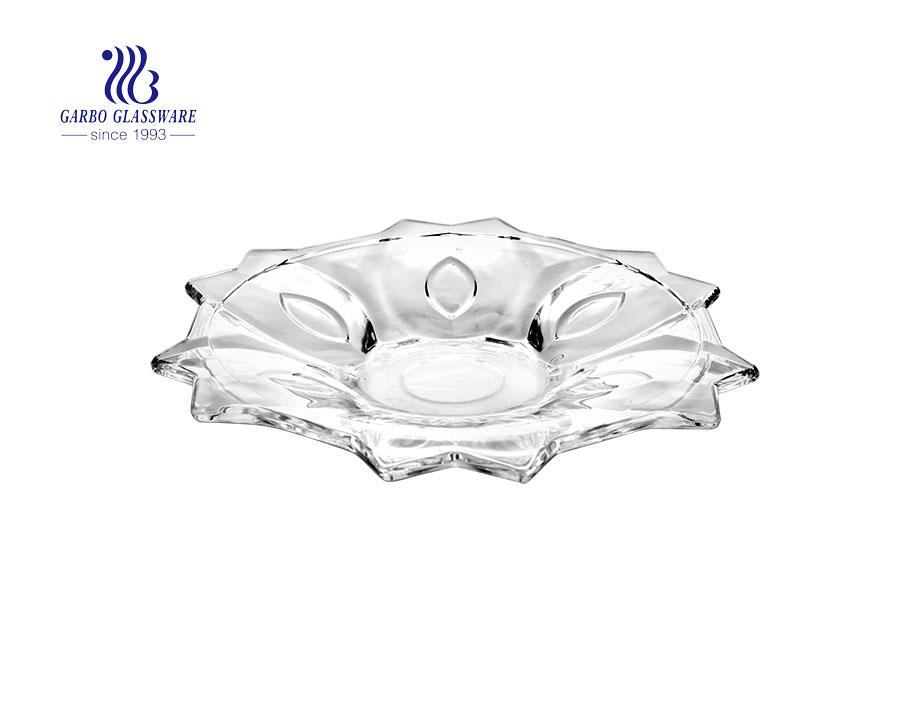 Chegou nova 13 '' elegante prato de frutas de vidro para uso doméstico