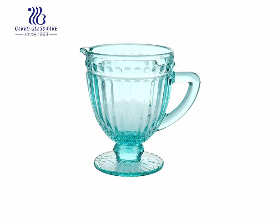 1.3L Horizon Blue color glass pitchers with stripe design