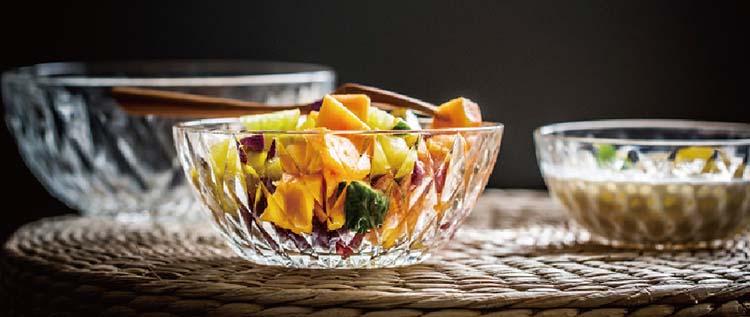 Vajilla de tazón de vidrio transparente con forma de cubo de hielo de 8 '' para servir fruta