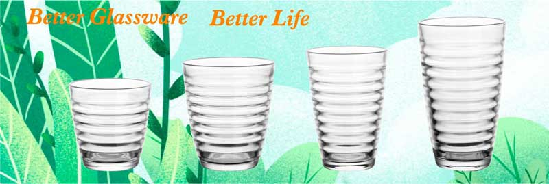 Japan style round circle shape glass tumbler with multi sizes