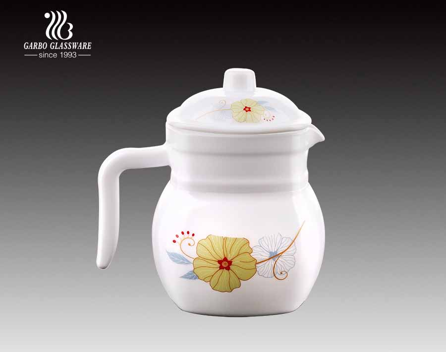 High Quality Customized Decal Design Cheap Opal Glass Tea Pot