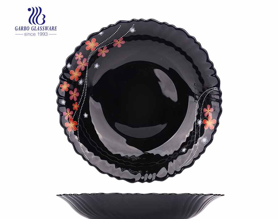 China Cheap Flower Design Customized Black Opal Glass Plate