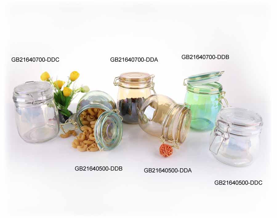 زجاج الجرار التخزين عالية الجودة طلاء الزجاج الجرار التخزين