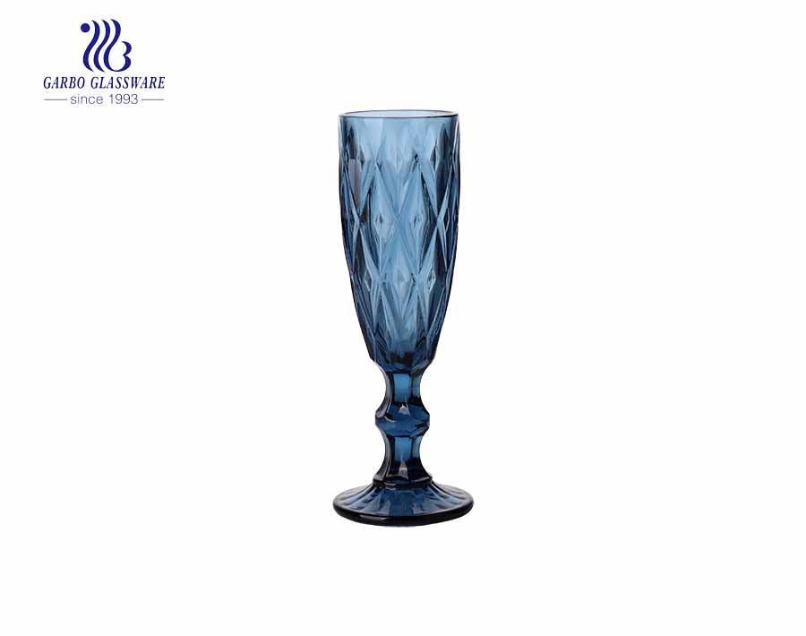 150ml solid color dark blue champagne glass cups with new diamond designs