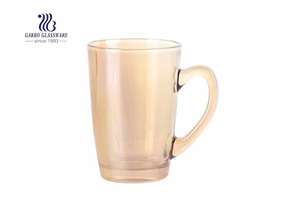 8oz glass coffee mugs with iron electroplated for restaurant