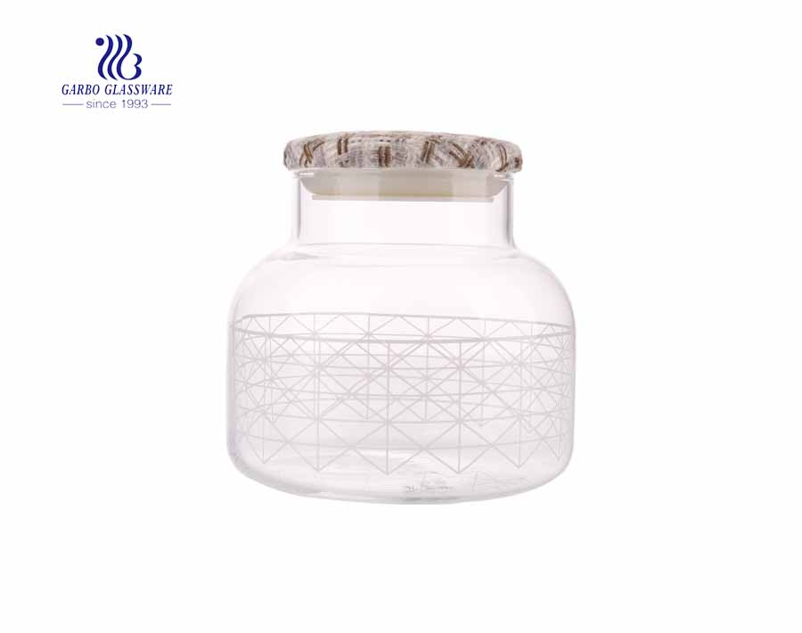 cute design of glass storage jars 1000ml glass storage jars