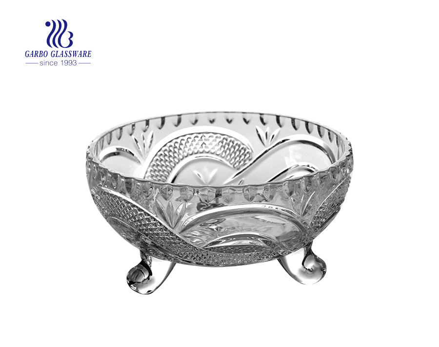 Hotsale with top diameter 173cm Dragon Lines Glass Bowl with Three feet