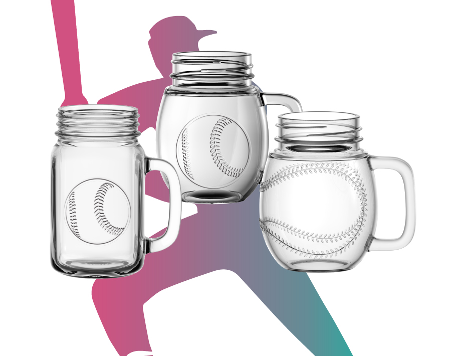 Garbo Glassware new design 450ml glass mason jars with football emboss logo