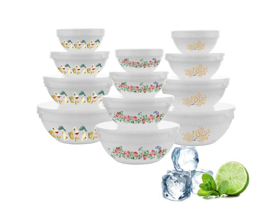 Machine Pressed Personalize Decal Design China 4pcs White Opla Glass Bowl Set