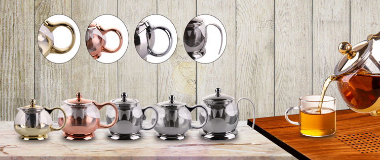 Borosilicate Glass Water Pitcher Kettle Glass Tea Juice Teapot with Infuser
