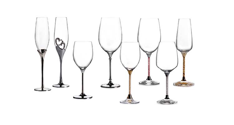 Cut crystal stemware glasses Standard Red wine glassware with elegant diamond sterm
