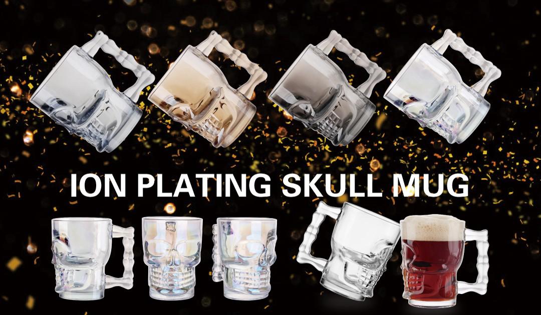 Skull design glass beer mug ion plating large beer mug colored cups with handle