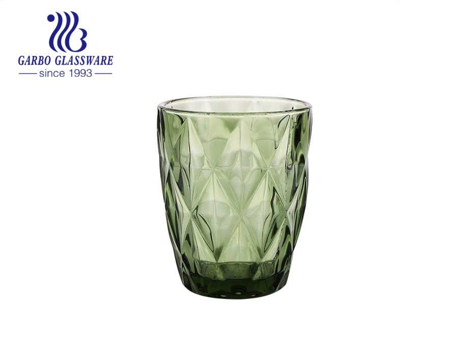 8 أوقية كوب زجاجي بلون أخضر خالص للشرب والماء للمطعم بجودة عالية