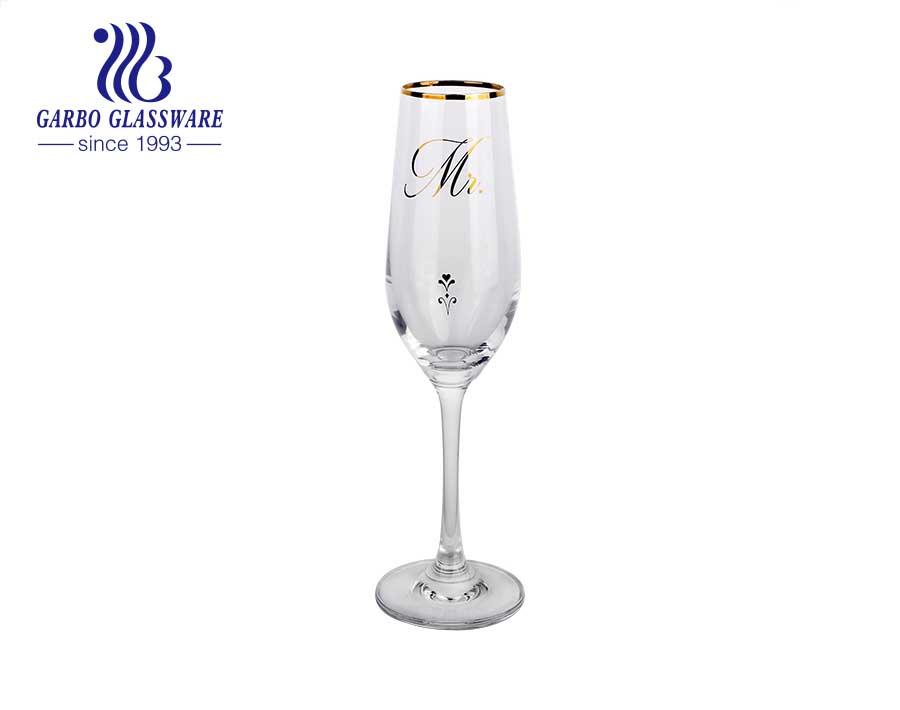 8.66OZ flower printed european style Handmade factory price wine glass wholesalehousehold use glass goblet