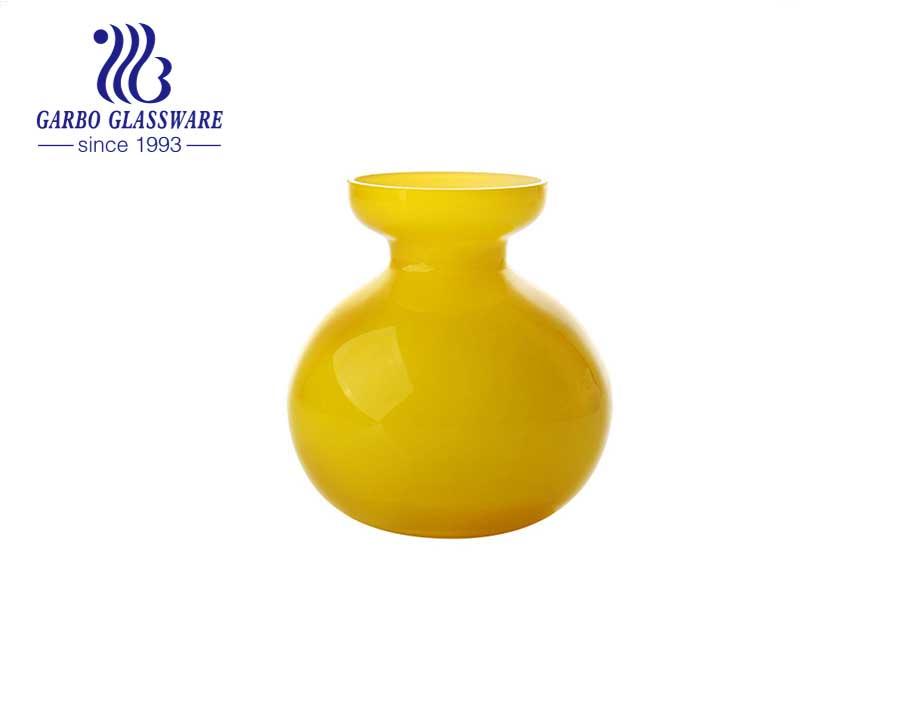 Ausgefallene gelbe Glasvasen 4 Zoll Hohe dekorative Tischvase