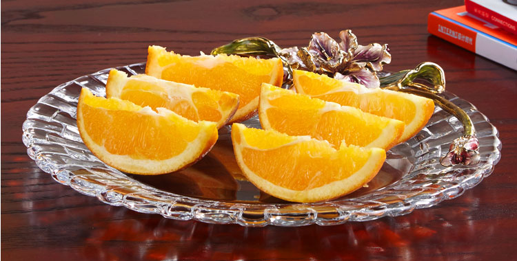 Rectangular-shape Glass Fruit Plate with Diamond Pattern and Handles