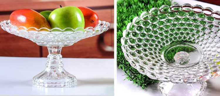 Recipiente de vidrio transparente de 9.5 pulgadas en forma redonda para colocar frutas y verduras