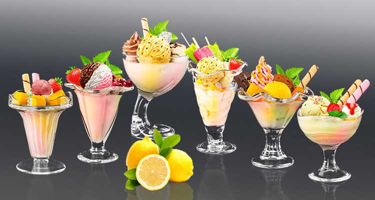 Clear Engraved  Glass Ice Cream Bowl