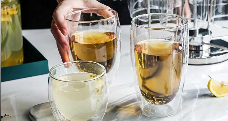 Tazas de café de cristal de pared doble a prueba de calor calcomanías personalizadas tazas de té calientes de cristal