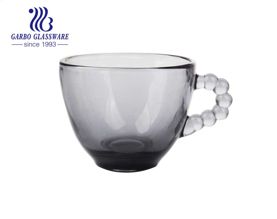 Tazas de vidrio para beber de café de color gris sólido de 80 ml con diseño de puntos para uso en el hogar y el restaurante