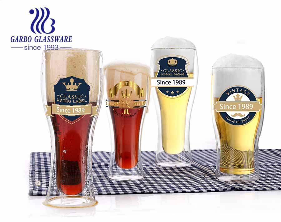 Taza de vidrio de borosilicato de uso de decoración casera de 17 oz venta caliente en taza de cerveza de vidrio de borosilicato de amazon