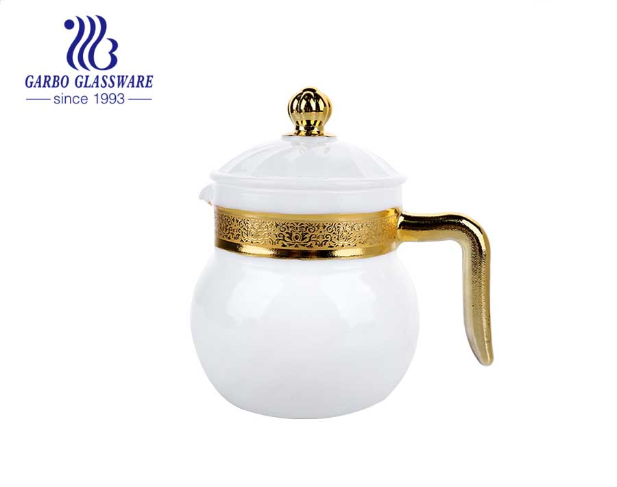 إناء شاي زجاجي من العقيق الأبيض سعة 1 لتر مطلي باللون الذهبي