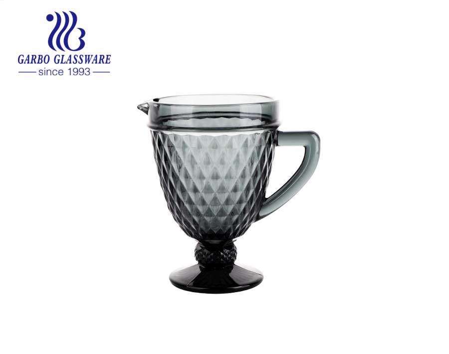 Jarro de vidro com design de diamante pequeno de 1300ml para água e suco de frutas quentes venda artigos de vidro da América do Sul