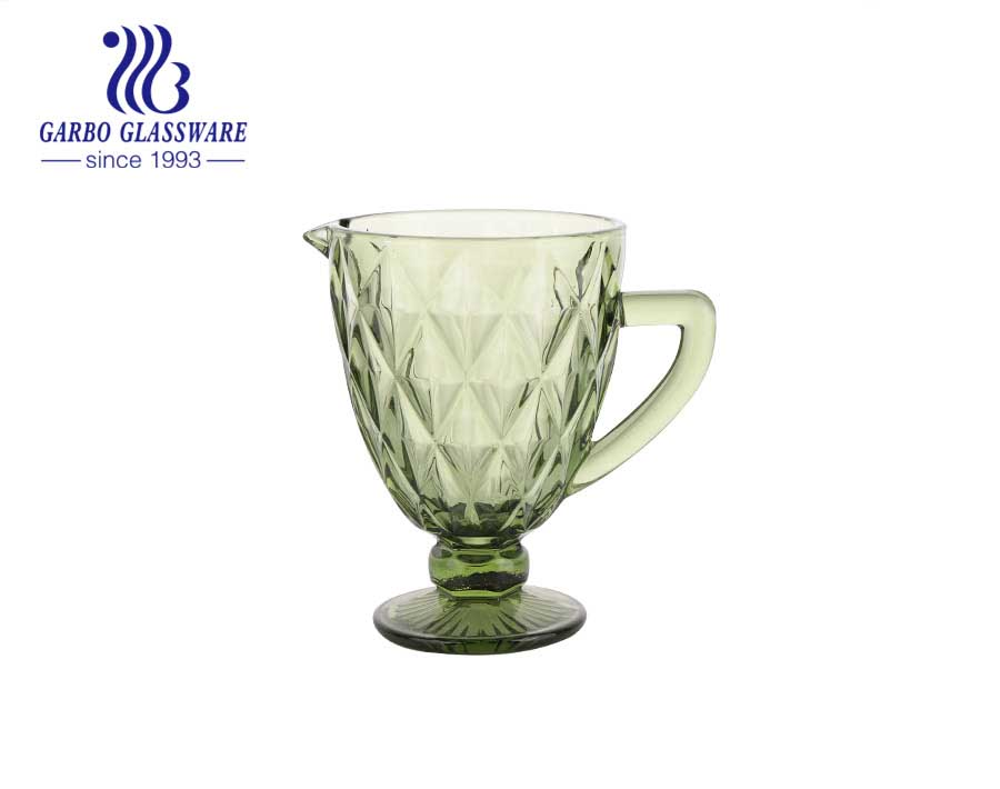 1300ml green solid color high quality glass pitcher for supermarket and wholesale