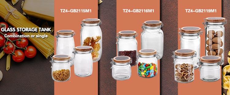 High borosilicater 46oz large glass food storage jars with airtight hinged lids