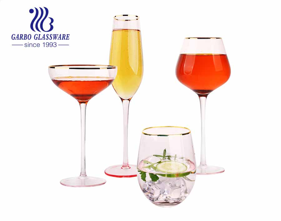 500ml glass goblet with elegant style white and clear high quality glass wine glass