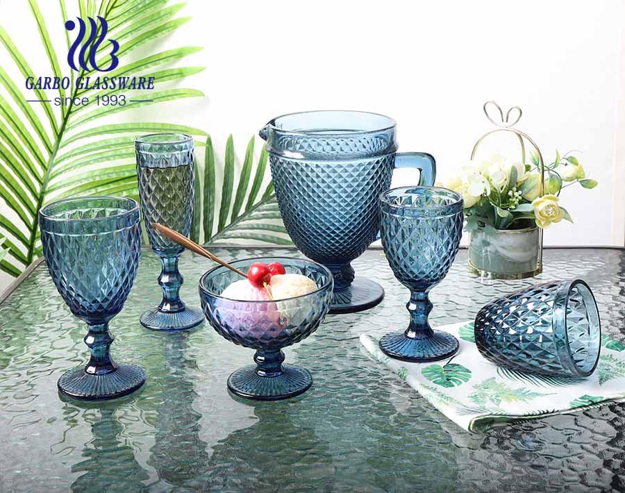 إبريق زجاجي بتصميم الماس 1.3 لتر كلاسيكي أواني زجاجية ذات ألوان صلبة لشرب المياه
